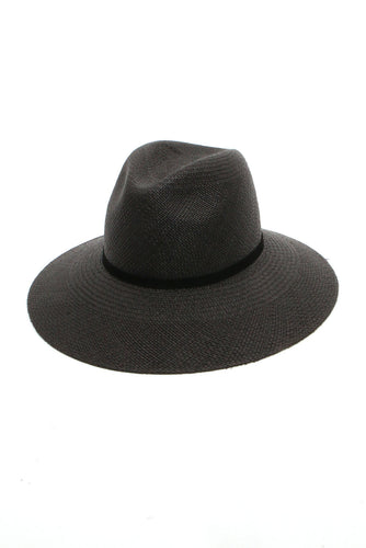 Selma Straw Hat in Black by Janessa Leone
