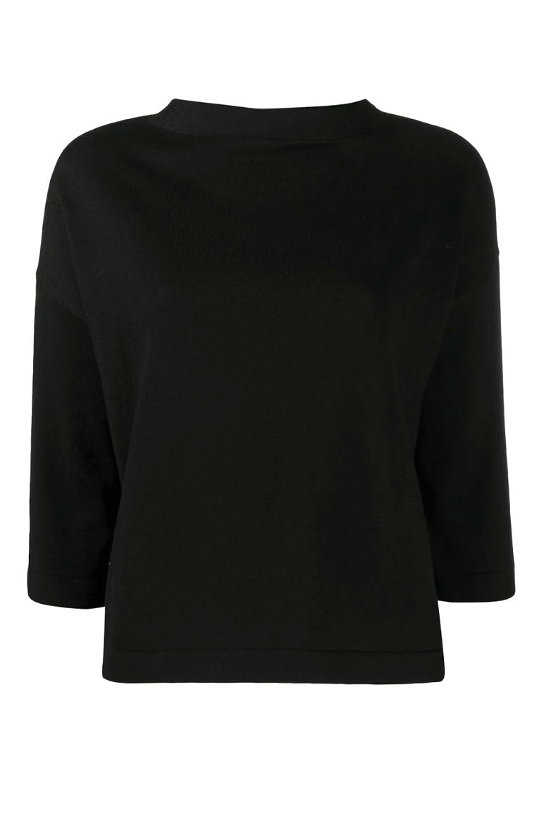 Black Boat Neck Knit