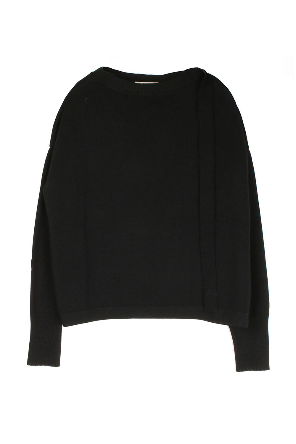 Boxy Black Knit W/ Ribbon