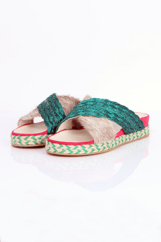 Crisscross-Strap Slide Sandals