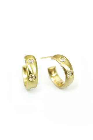 Satin Finish Hoop Earrings w/ Rose Diamond