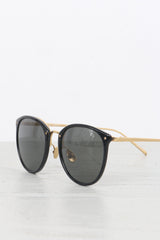 Linda Farrow Oversized Round Black Gold