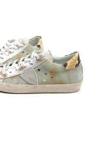 Denim Worn Out Look Low Top Sneakers by Philippe Model