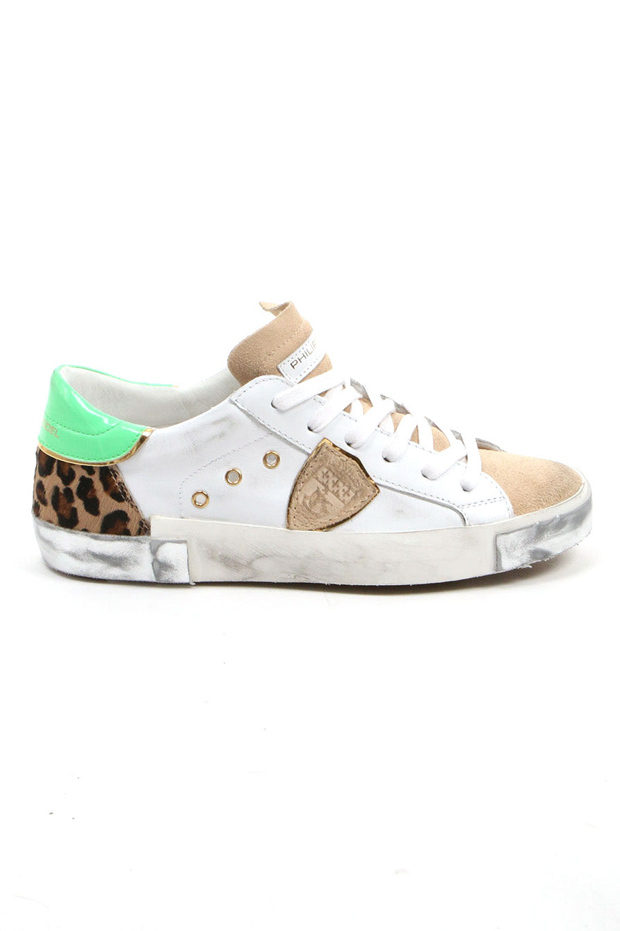 Philippe Model White Leopard Neon Low Top Sneakers