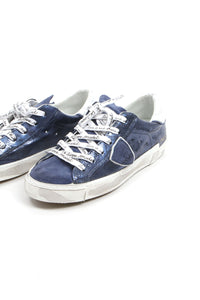 Philippe Model Blue Metallic Low Top Sneakers