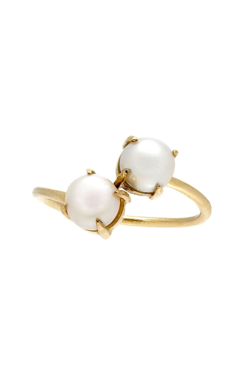Double Pearl Prong Ring