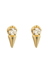 3D Triangle White Diamond Studs