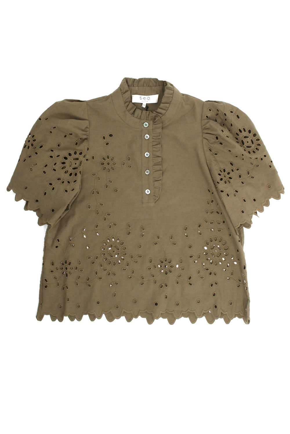 Fern Eyelet Army Top