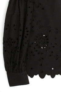 Fern Eyelet L/S Black Top