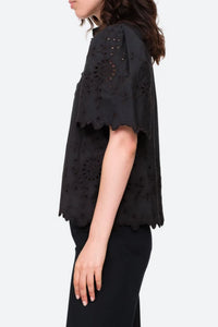 Fern Eyelet Black Top