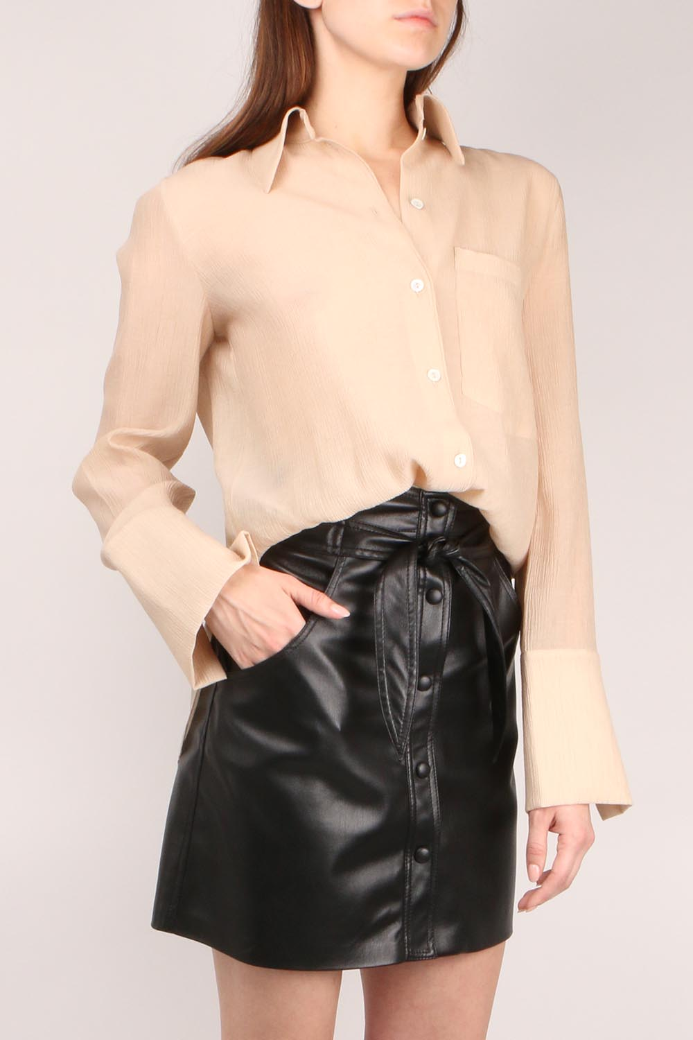 Pleated Voile Button Down