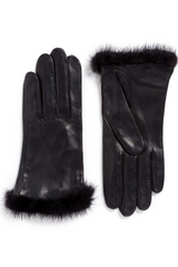 Mink Trim Leather Gloves