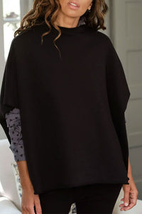 Funnel Neck Black Capelet