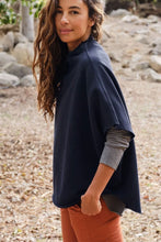 Load image into Gallery viewer, Funnel Neck Navy Capelet
