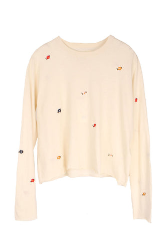 The Long Sleeve Crop Tee W/ Seed Floral