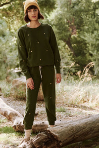 The Cropped Army Sweatpant w/ Hearts