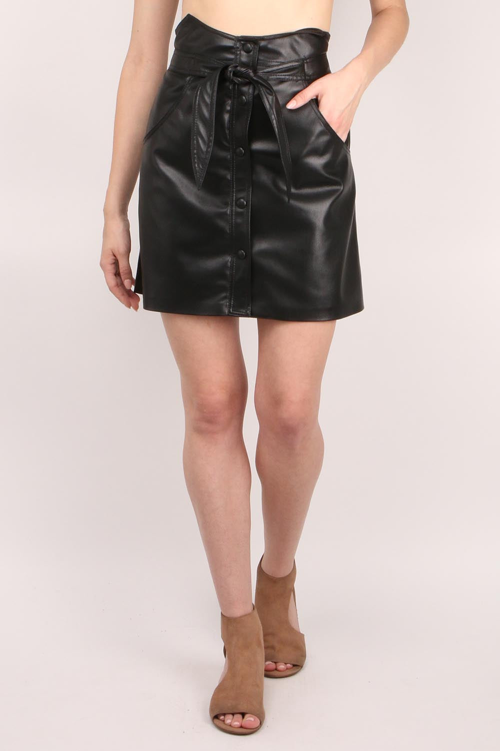 Western Mini Vegan Leather Skirt
