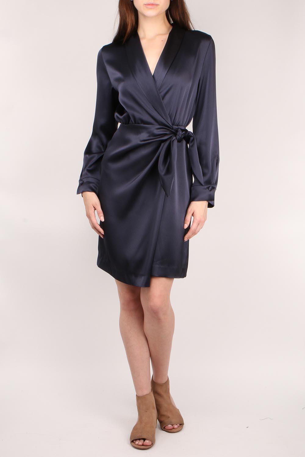 Wrap Front Satin Dress