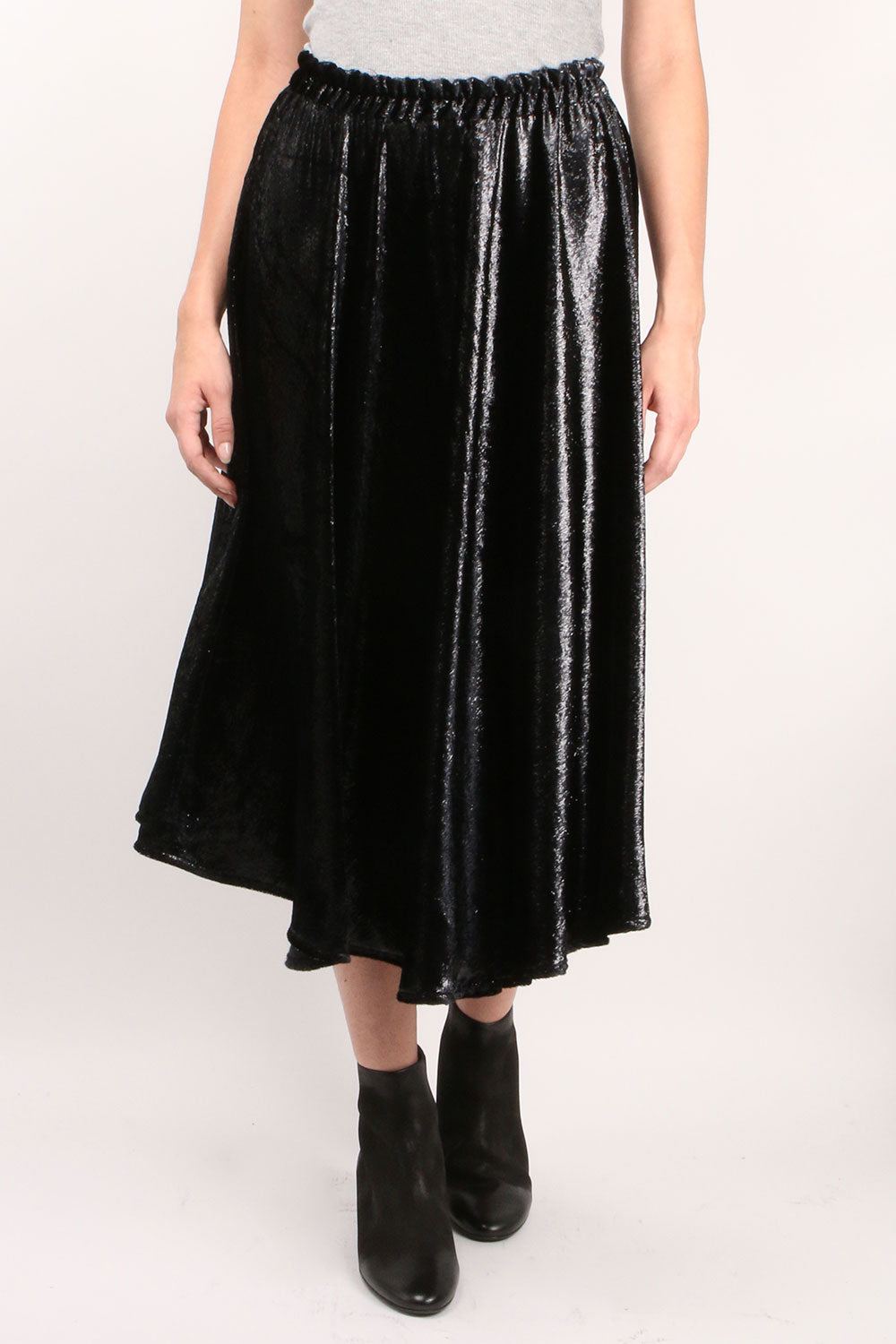 Vivien Velvet Skirt Black Shine