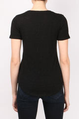 Short Sleeve V-Neck Tee in Black