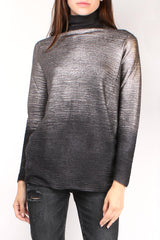 Metallic Black Turtleneck