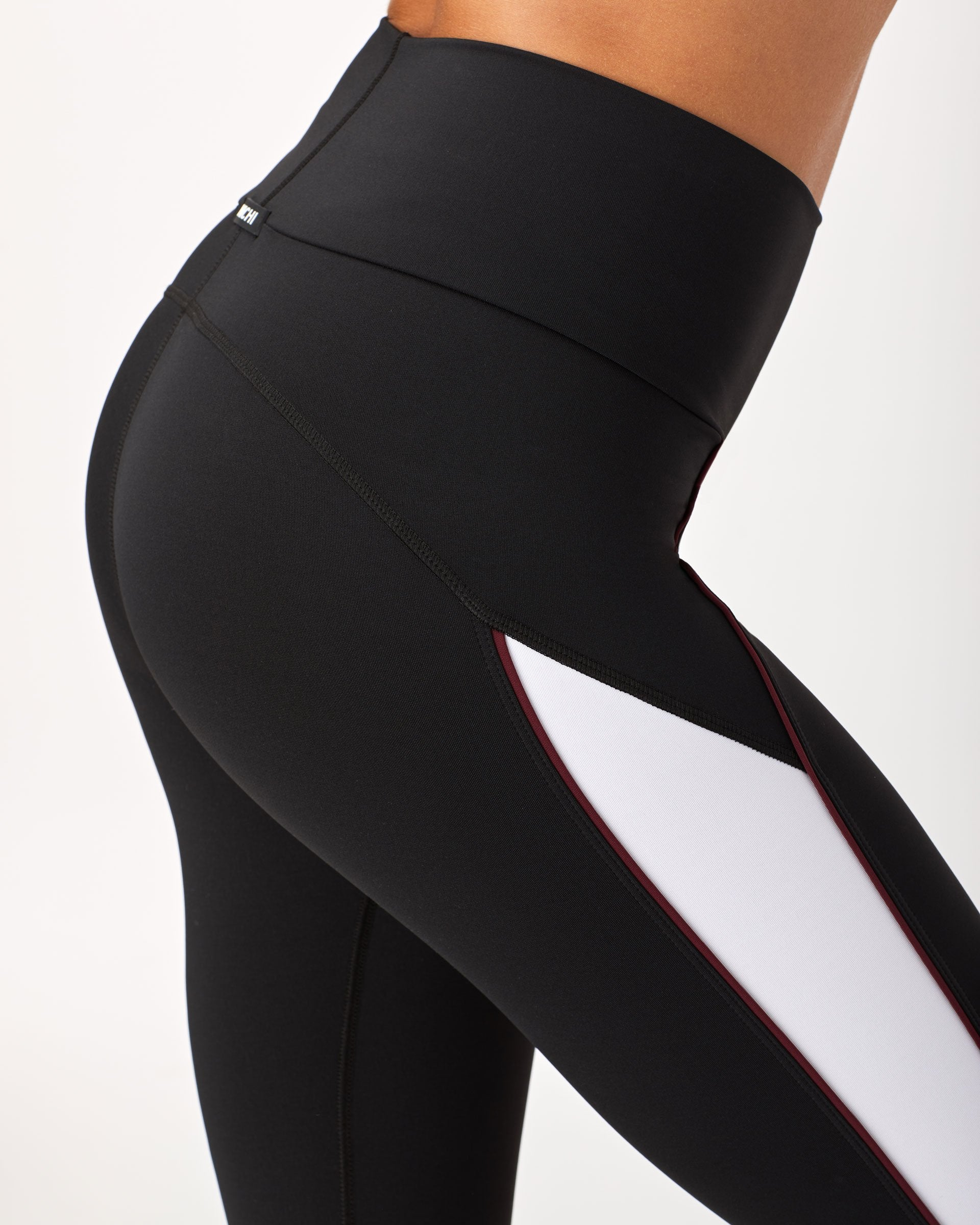 Channel High Waisted Crop Legging - Black/White/Wine