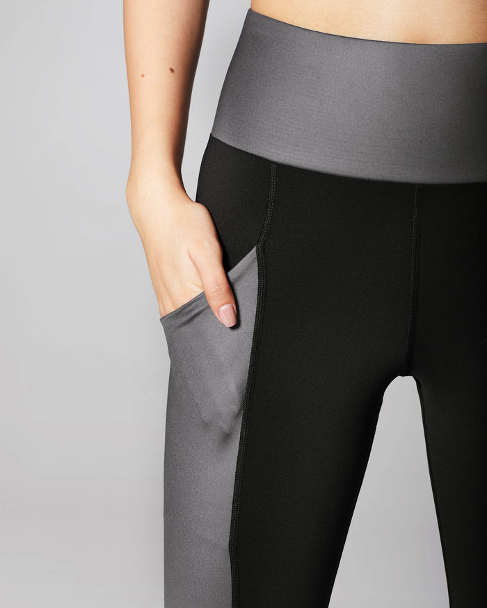 Fusion High Waisted Pocket Legging - Gunmetal