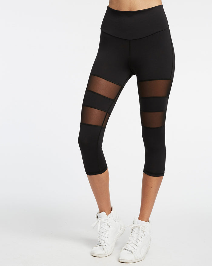 Psyloque High Waisted Knee Crop Legging - Black