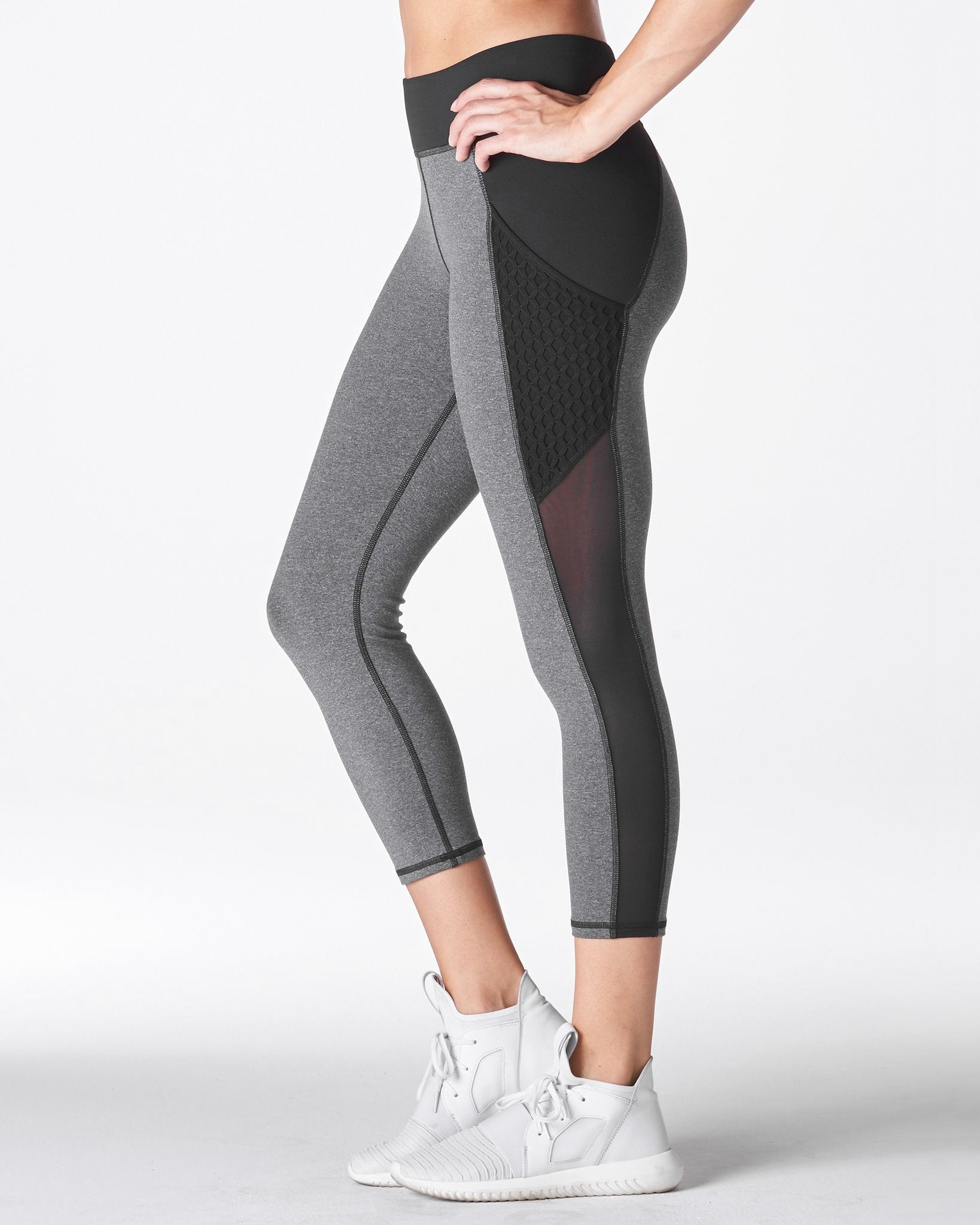 Stardust Crop Legging w/ Pocket - Heather Grey