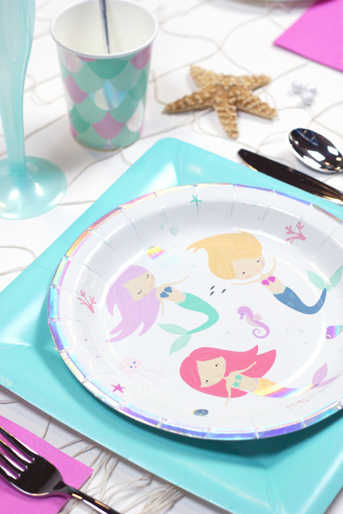 Wish We Were Mermaids -- Mermaid party plates place setting