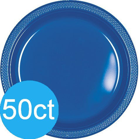 "Bright Royal Blue 10.25"" Plastic Plate 