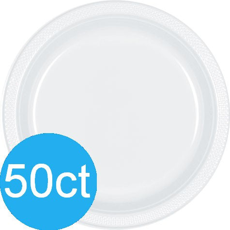 "Frosty White 10.25"" Plastic Plates 