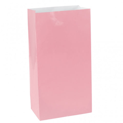 New Pink Mini Paper Bags | 12 ct