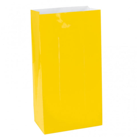 Sunshine Yellow Mini Paper Bags | 12 ct