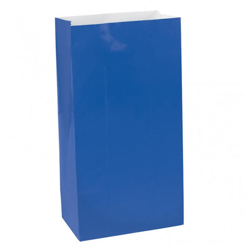 Bright Royal Blue Mini Paper Bags | 12 ct