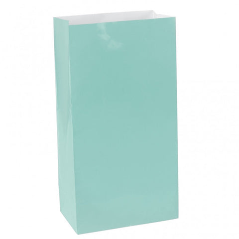 Robin's Egg Blue Mini Paper Bags | 12 ct