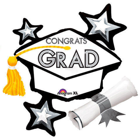 Congrats Grad White ShuperShape Mylar Balloon 31"