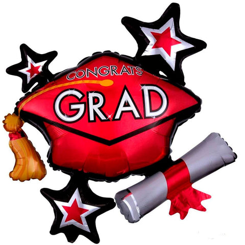 Congrats Grad Red ShuperShape Mylar Balloon 31"