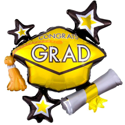 Congrats Grad Yellow ShuperShape Mylar Balloon 31"
