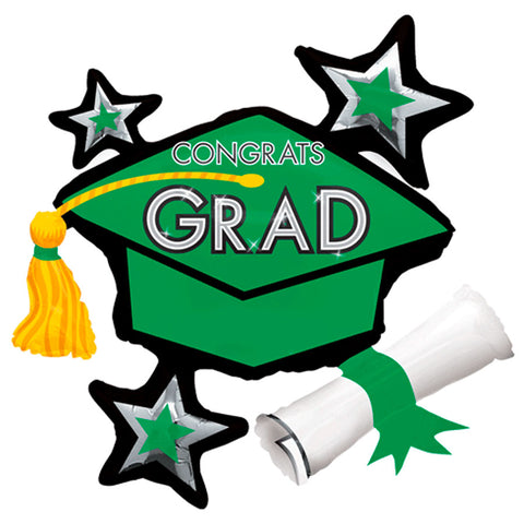 Congrats Grad Green ShuperShape Mylar Balloon 31"