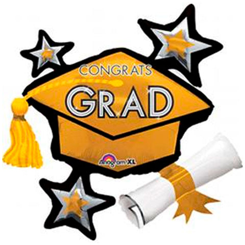 Congrats Grad Gold ShuperShape Mylar Balloon 31"