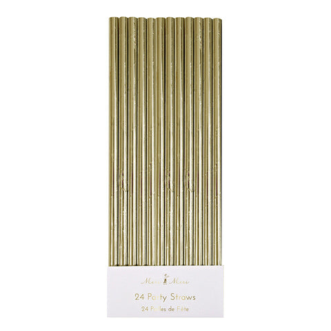 Gold Foil Paper Straws | 24 ct