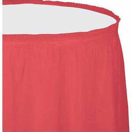 Coral Plastic Tableskirt, 13' | 1 ct