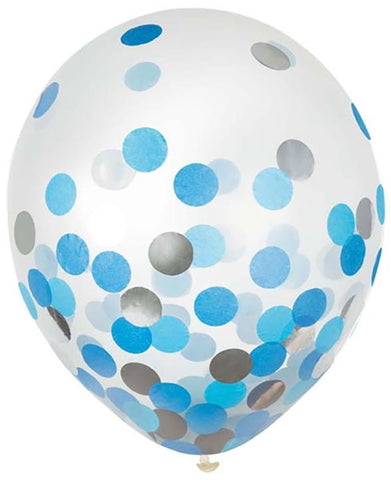 Blue and Silver Confetti Latex Balloons 12"