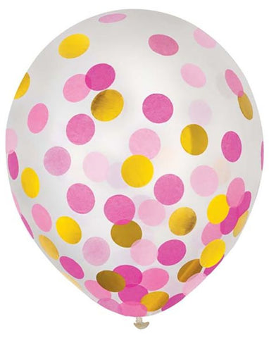 Pink and Gold Confetti Latex Balloons 12"