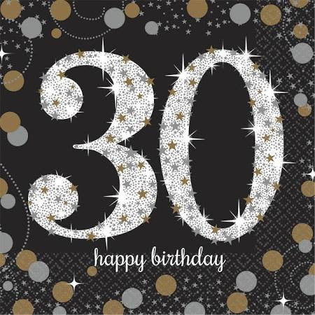 Sparkling Celebration 30th Birthday Beverage Napkins | 16 ct