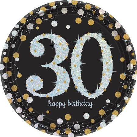 Sparkling Celebration 30th Birthday Paper Dessert Plates, 7'' | 8 ct