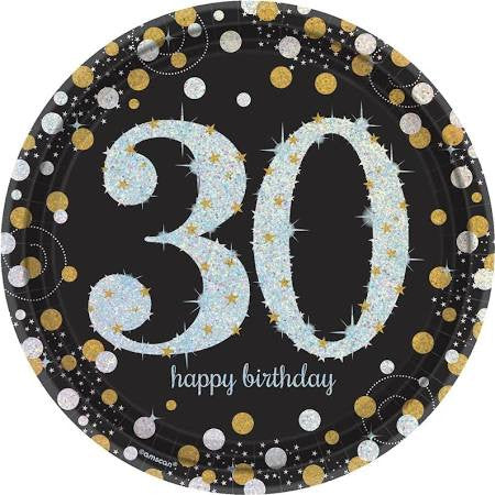 Sparkling Celebration 30th Birthday Paper Plates, 9'' | 8 ct