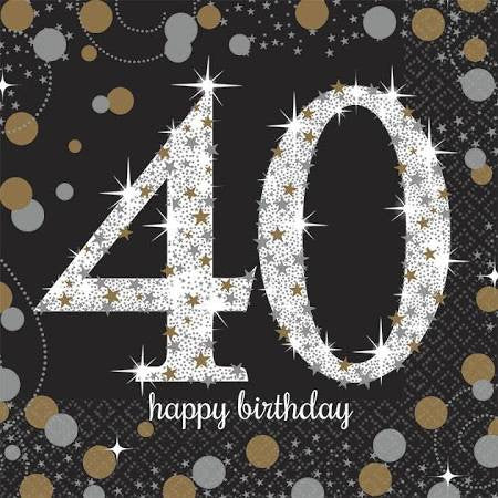 Sparkling Celebration 40th Birthday Beverage Napkins | 16 ct