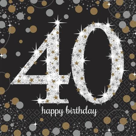 Sparkling Celebration 40th Birthday Lunch Napkins | 16 ct